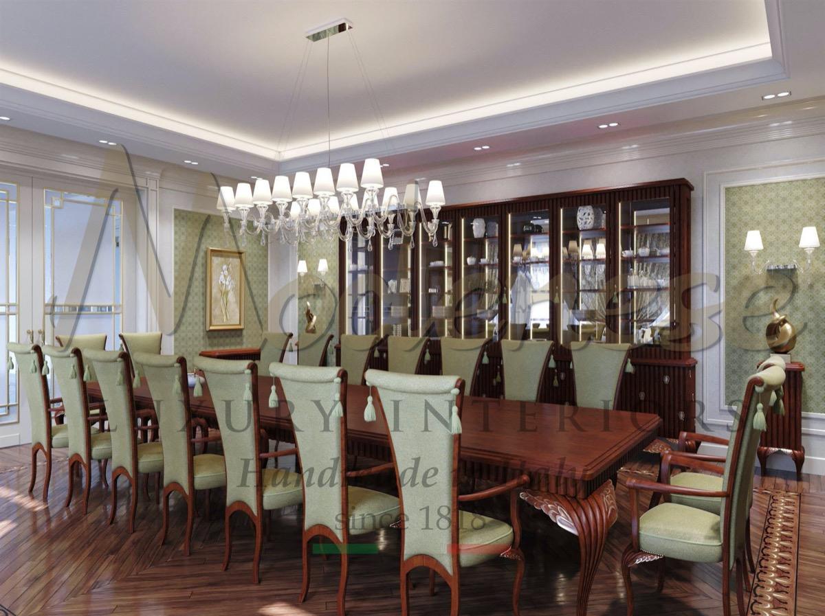 Salle à manger sur mesure pour les projets les plus beaux et les plus élégants. Salle à manger classique pour un projet élégant. Design exclusif et suggestions uniques pour les palais résidentiels royaux et les villas.