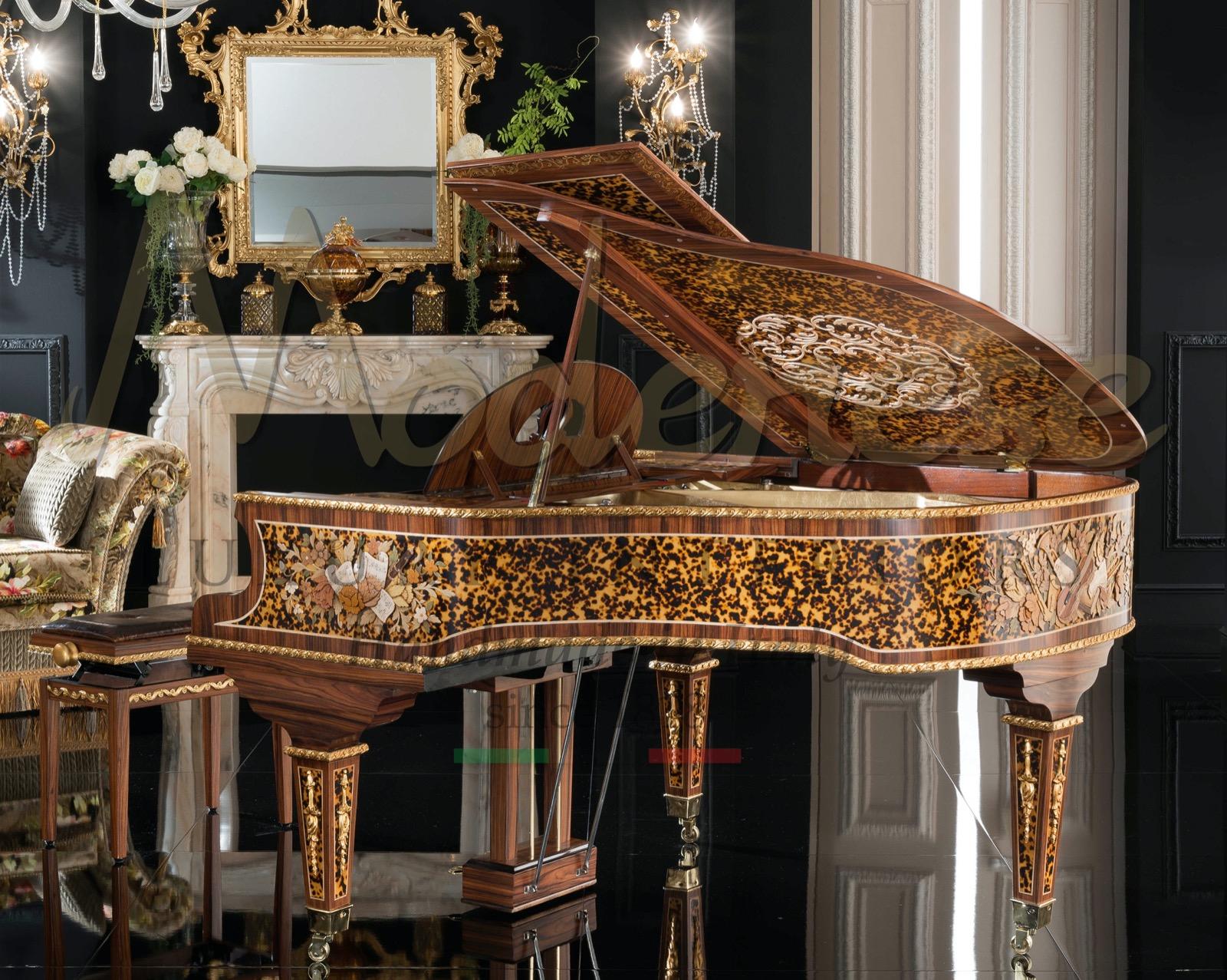 музыка страстная роскошь пианино королевский классический стиль отреставрированный Steinway Bernstein вилла дворец проект индивидуальные проекты дизайн интерьера
