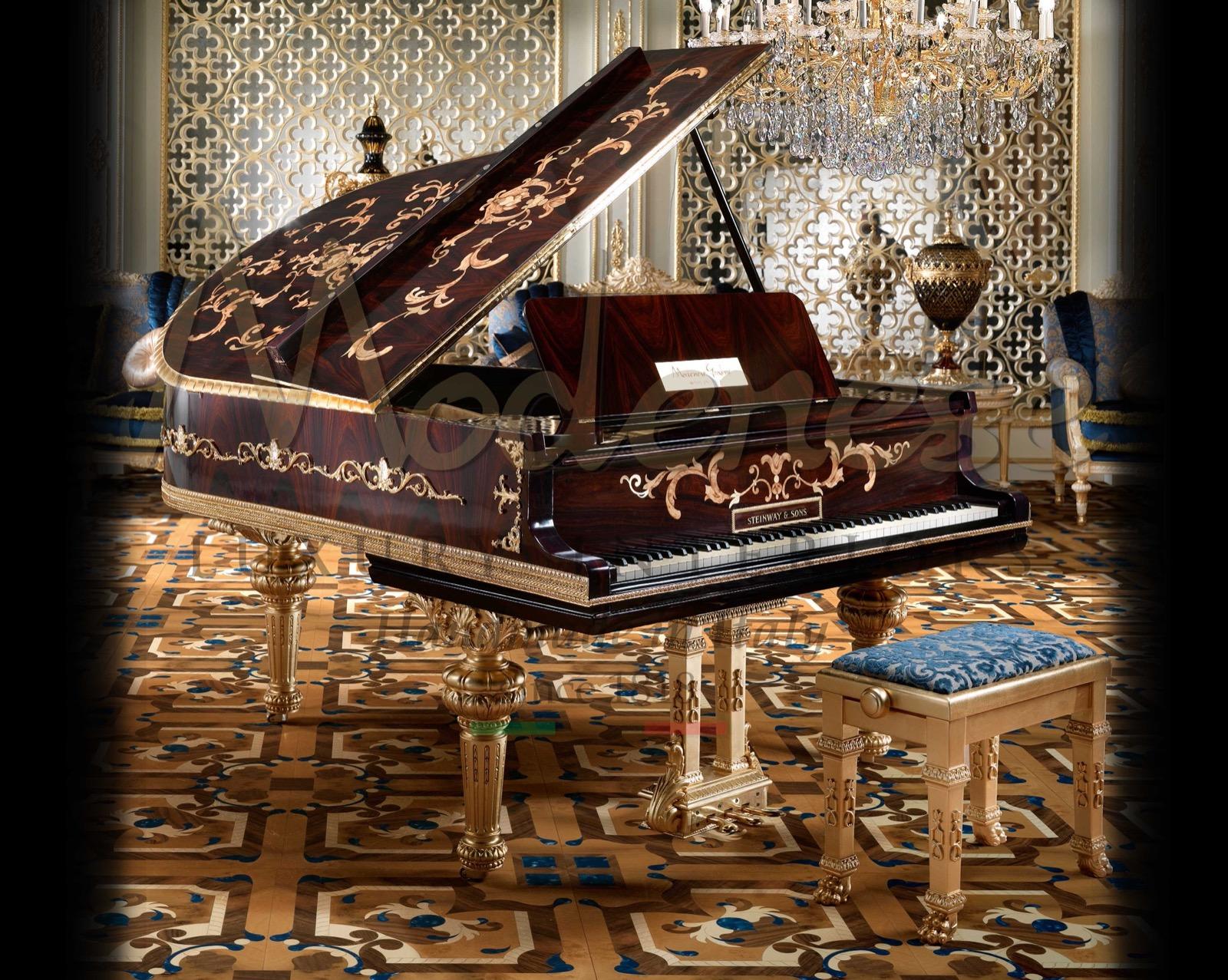 Итальянское производство ручной работы ремесленники реставрация пианино роскошь made in Italy мебель сусальное золото