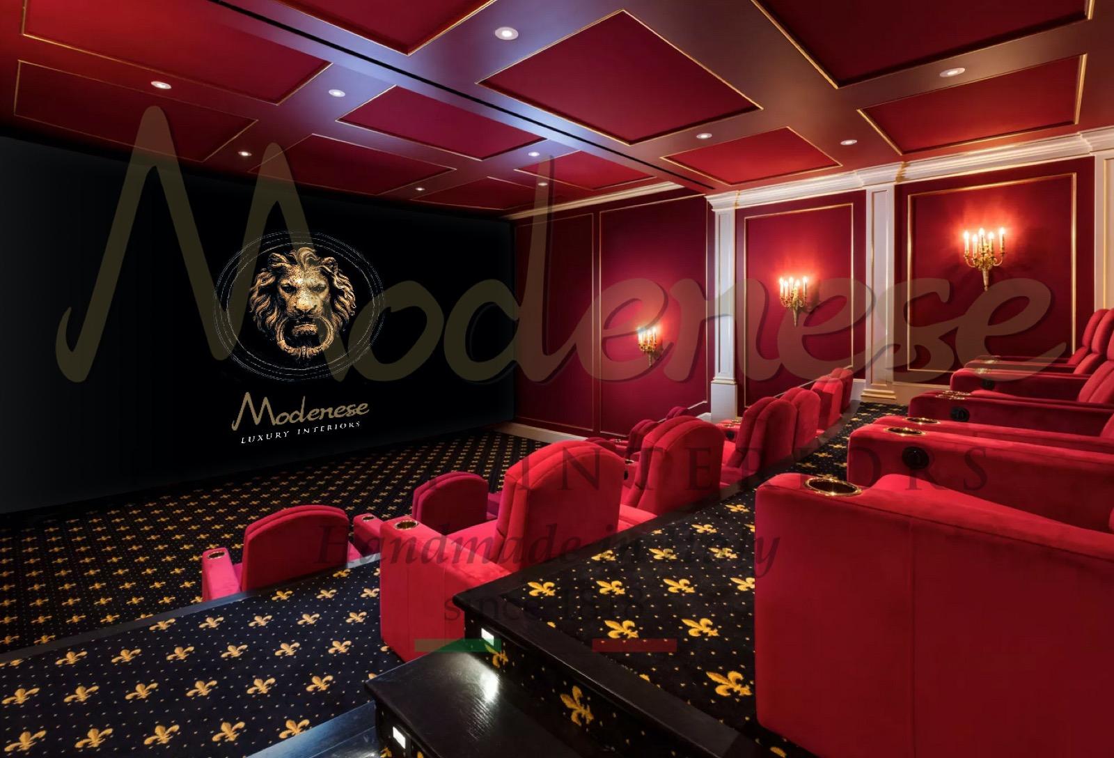 дизайн интерьера роскошная мебель домашний кинотеатр украшение дома развлечение диван кресло экран высококачественная мебель из осыпи материалы премиум-класса удобные панели буазери индивидуальная обивка