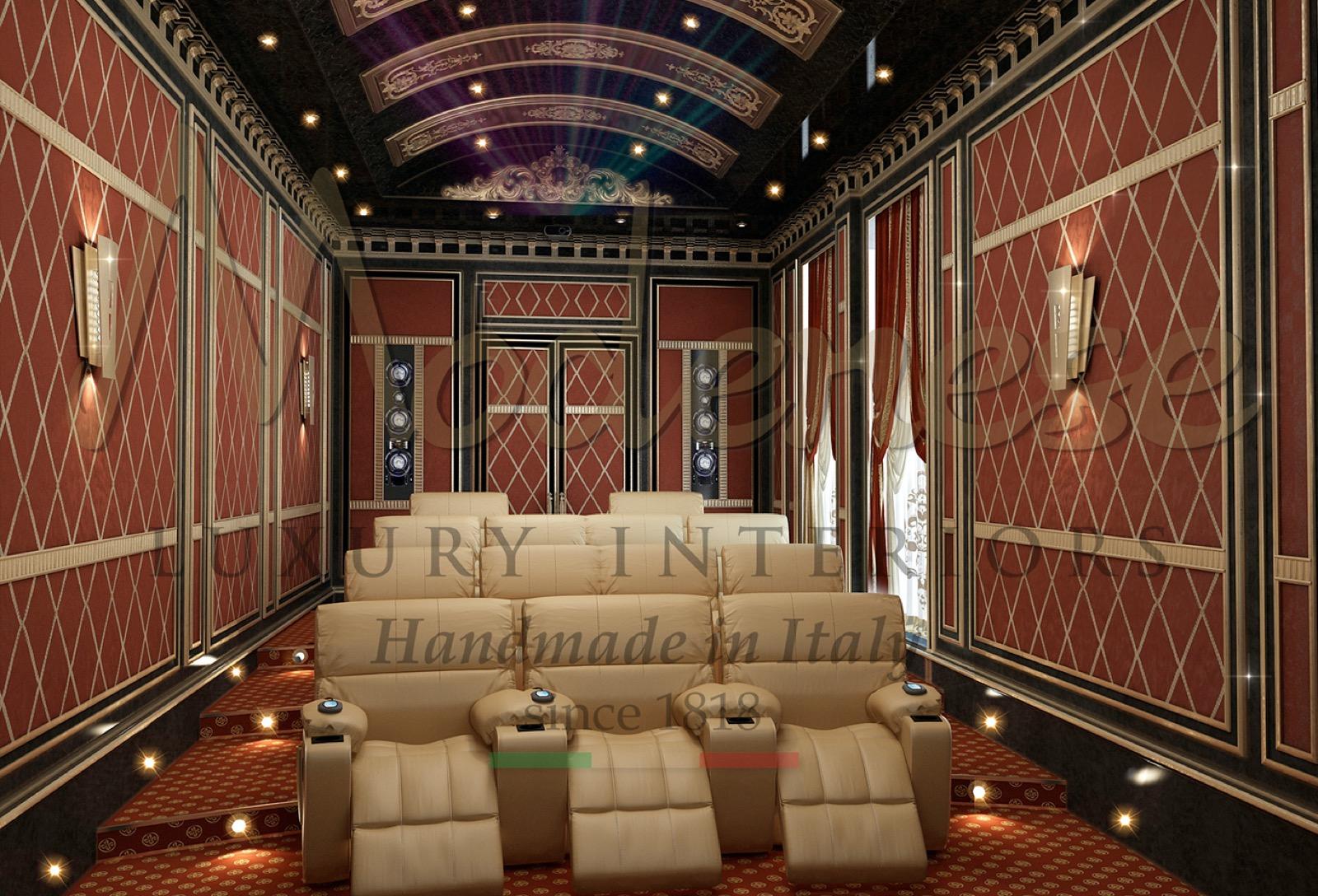 кинозал роскошное украшение дома индивидуальная обивка диваны кресла развлечения мебель на заказ Сделано в Италии мебель классический стиль барокко дизайн интерьера