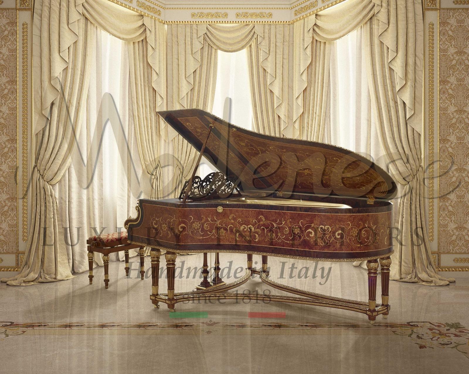 реставрация роскошное пианино украшение ручной работы 3D инкрустация сусальное золото индивидуальный декор вилла дворец производство ремесленники мастерство королевский дизайн
