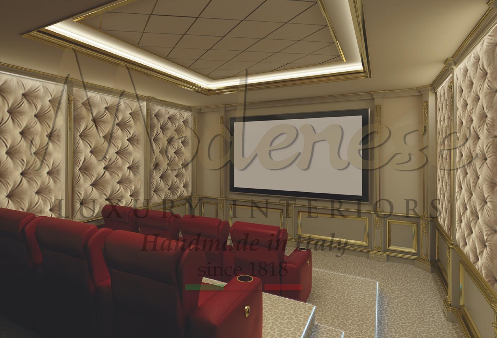 роскошный домашний кинотеатр вилла проект развлекательное пространство диван кресло мебель на заказ Турция решения дизайна интерьера 3D HD экран звуковая система материалы премиум-класса обивка