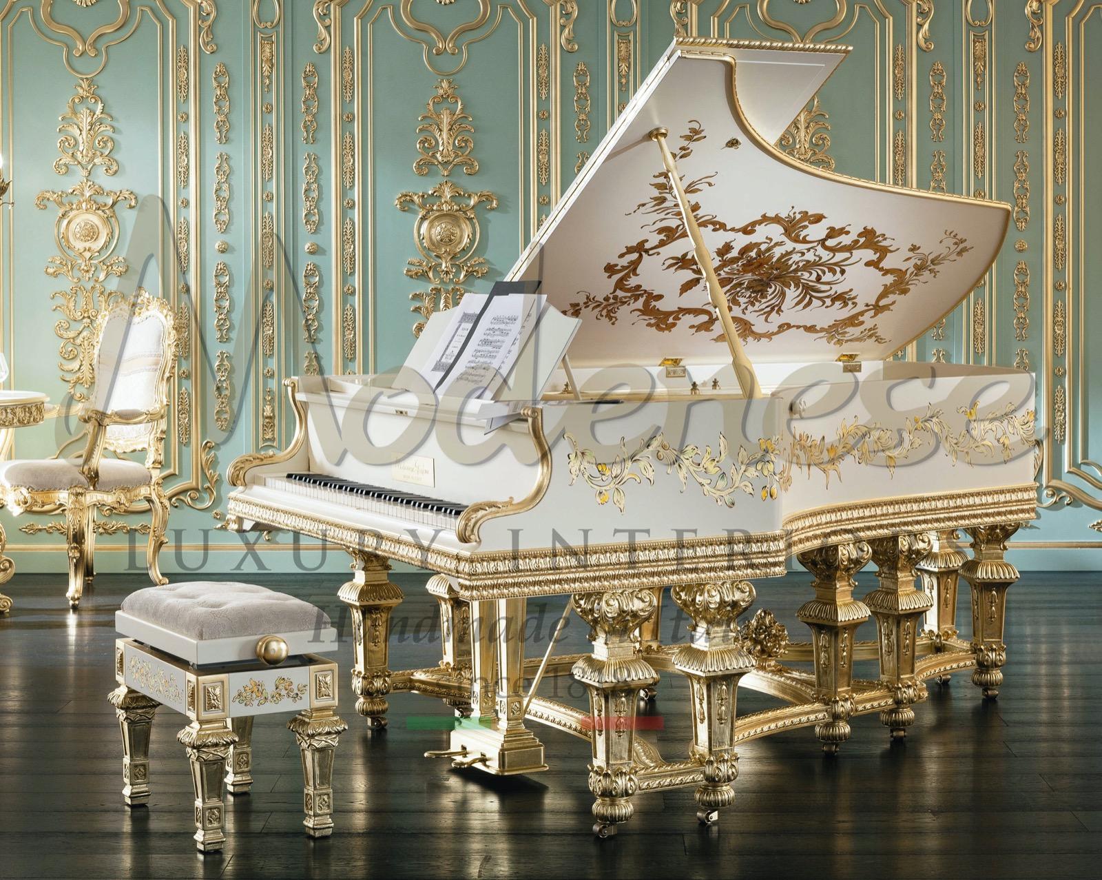 роскошные итальянские интерьеры кустарное производство музыка реставрация пианино Steinway Bernstein тупой классический декор ручной работы сусальное золото