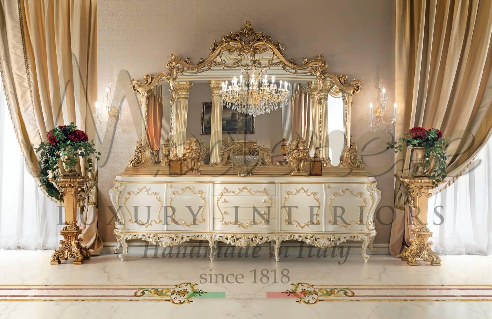 зеркало шкафа, применение сусального золота, золотые детали, классическая роскошная мебель для декора виллы, дворец, королевские идеи, стиль барокко, рококо, стильный дизайн вне времени, вход в дом, сделано в Италии, индивидуальные интерьеры, ваза, подставка, люстры, аксессуары, декор, уникальные предметы