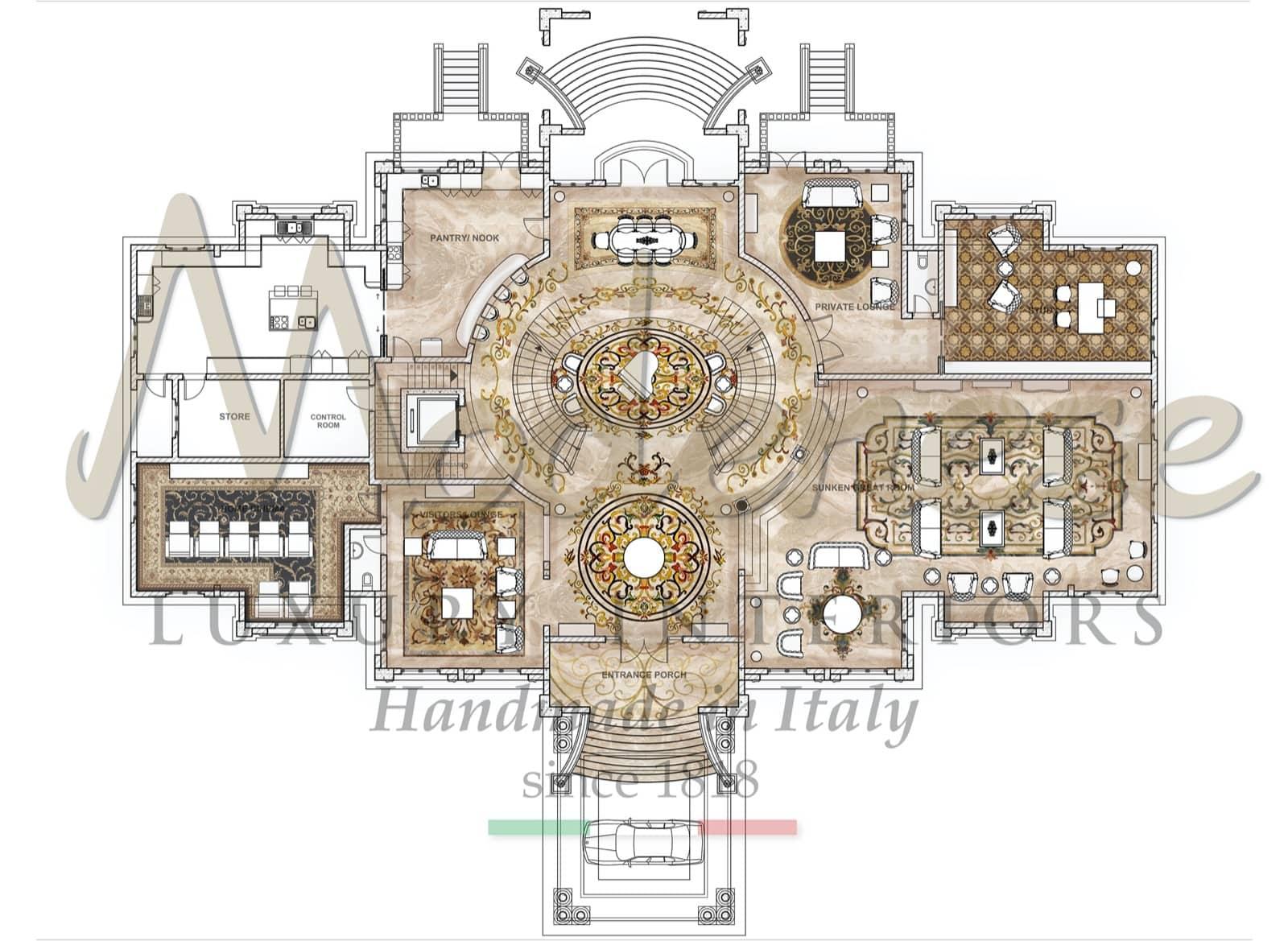 архитектурный дизайн план интерьера, этапы создания роскошных интерьеров, индивидуальные чертежи интерьеров и мебели, элегантный королевский стиль для уникальных проектов, изысканная элегантная архитектура в стиле ампир