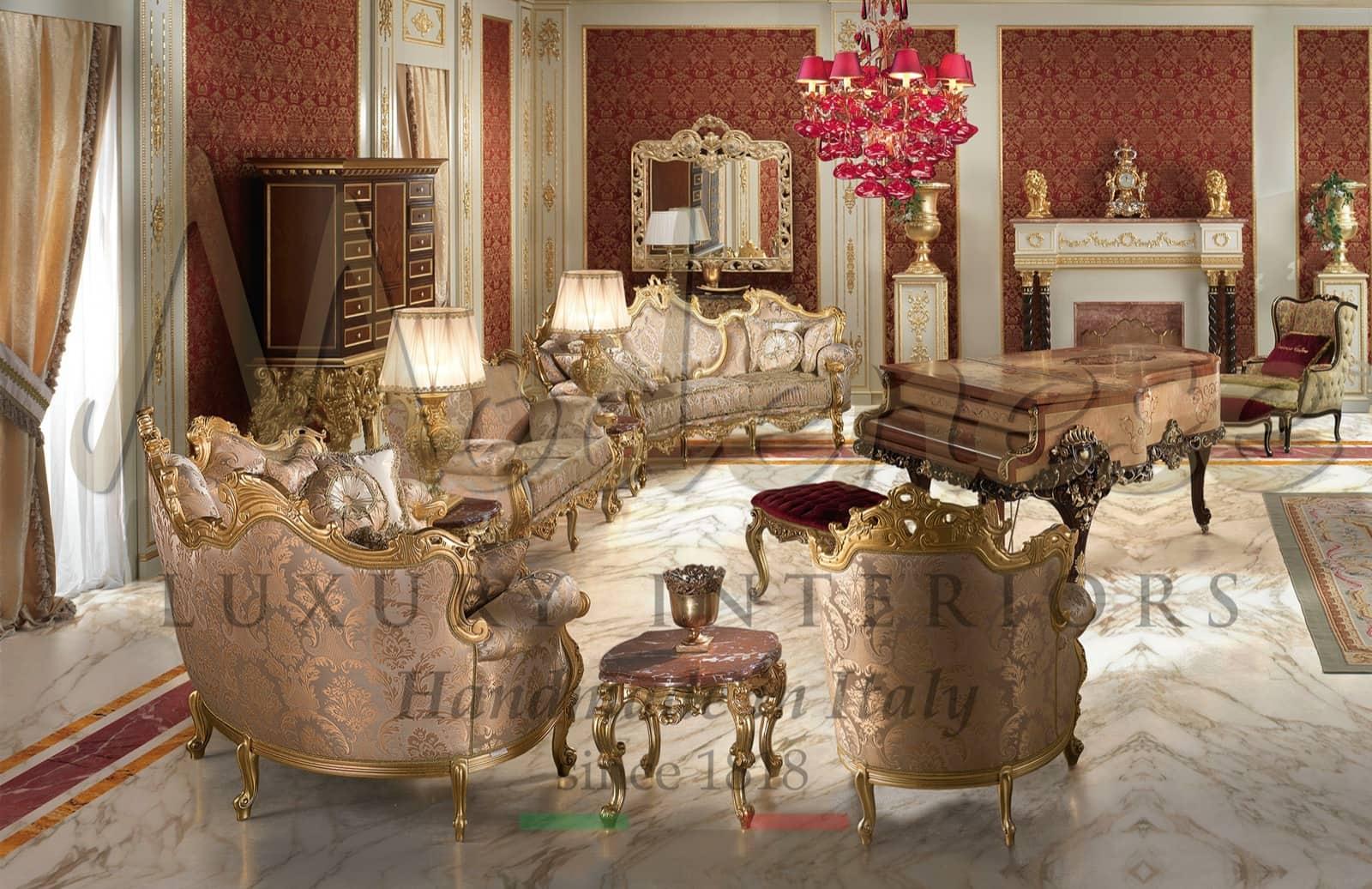 качественная итальянская роскошная мебель в стиле барокко, золотой диван для меджлиса, классические идеи ручной работы, премиум дизайн интерьера, королевский фортепьяно, камин, элегантный стиль, проекты вилл, сделано в Италии, производство фортепьяно, империанский стиль, Людовик XIV