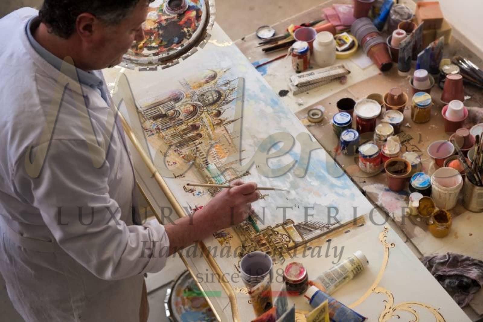 декор ручной работы, традиционные венецианские картины, лакированный, цветной, сделано в Италии, краска, массив дерева, дуб, грецкий орех, красочный декор дома, ремесленное производство, ремесленник, дизайн интерьера, декор, барокко, французский стиль