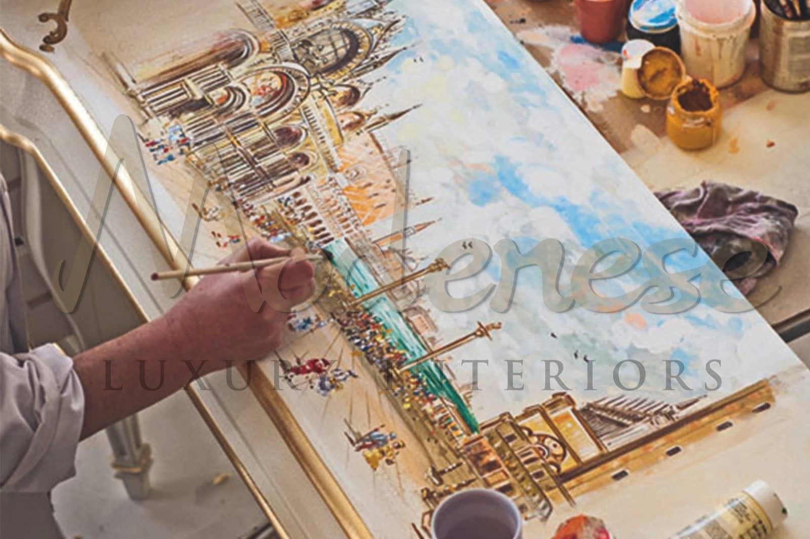 التصنيع ، إيطالي ، أثاث مخصص ، ملون ، قطع مرسومة يدويًا ، فن ، ديكورات داخلية كلاسيكية فاخرة ، ذهبي ، فضي ، ألوان ، مواد فاخرة ، زينة خشب حرفية ، جودة عالية ، طراز باروكي كلاسيكي ، مصقول ، ذوق غير مزمن