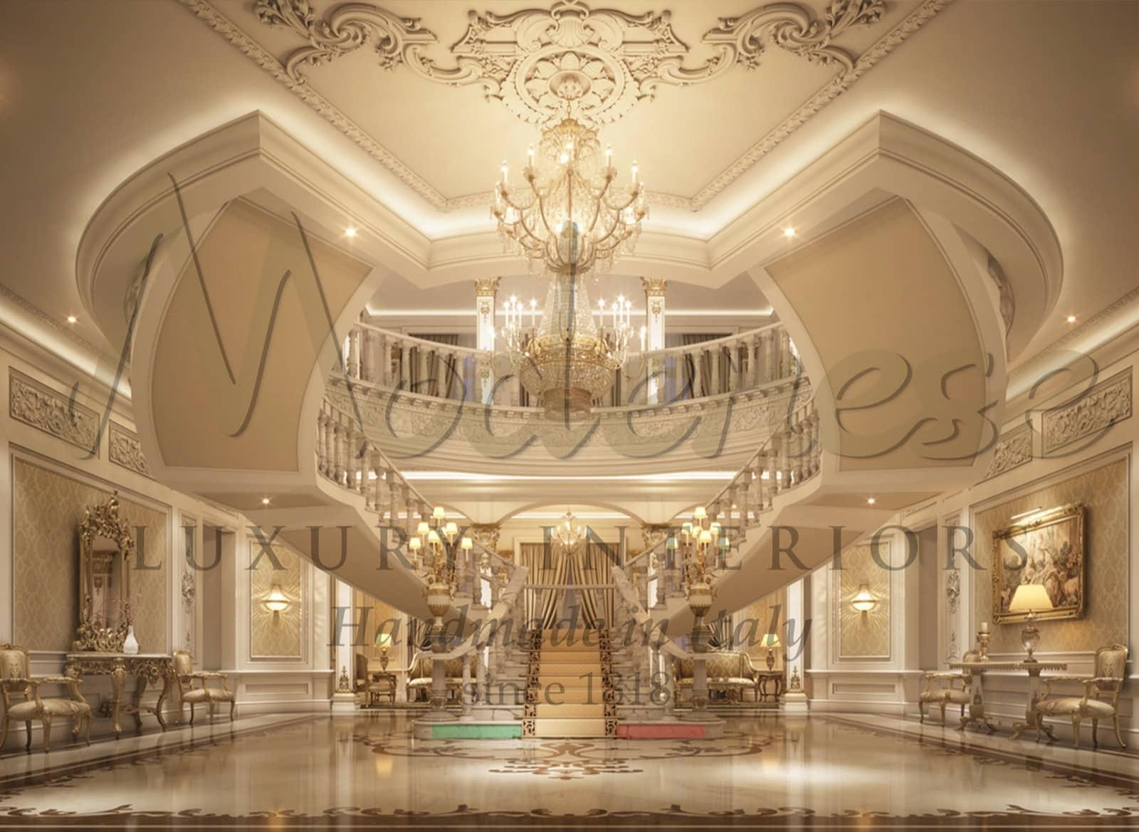 королевская вилла, жилой дворец, окончательная концепция дизайна, рендеринг, лучшие итальянские дизайнеры, архитекторы, дизайн интерьера, студия, проекты, консультирование, сделано в Италии, производство, высококачественная классическая роскошная мебель, интерьеры, элегантный вкус, вход домой, мраморная лестница, люстра, классический стиль, барокко
