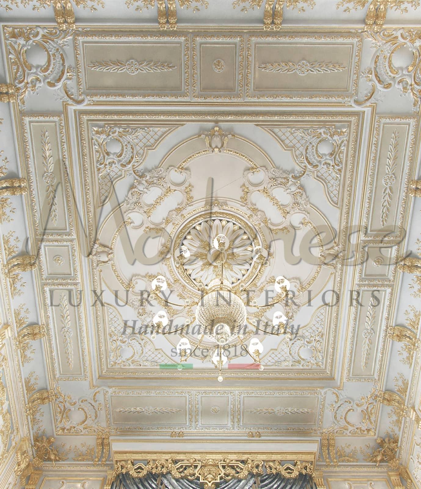 carved wood ceiling gold details gold leaf application handmade baroque classic interior design ideas elegant style decoration luxury carving boiserie chandelier customized designs custom made taste bespoke villa palace
